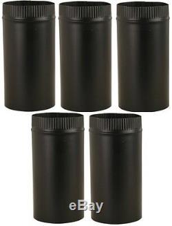 (5) ea Imperial Mfg BM0220 6 x 48 24 Gauge Black Metal Stove / Chimney Pipe