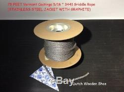 75 Foot Vermont Castings 5/16 Griddle Rope STAINLESS STEEL JACKET WITH GRAPHITE