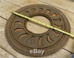 Cast Iron Round Stove Pipe Collar, Chimney Flue Cover, Ornate Grate Heat Ring e
