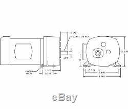 Dayton AC Parallel Shaft Split Phase Gear Motor 5.4 RPM 1/4hp 115V Model 6Z399