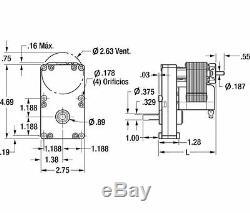 Dayton Model 1LNF8 Gear Motor 3/8 Shaft, 6 RPM 1/50 hp 115V (6Z907)