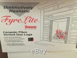 Fyre-Lite Vented 21 Fireplace Burner Burned Oak Ceramic (6) Piece Log Set EB21