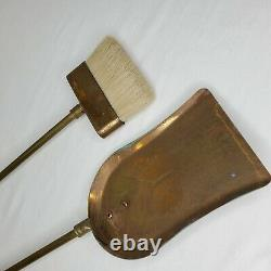 Vintage Brass Fireplace Tools Duck Head Shovel Broom Replacement Parts Set Of 2